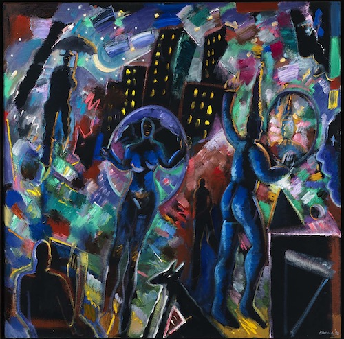 carlos almaraz night magic (blue jester) 1988 oil on canvas