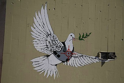 graffiti banksy peace dove