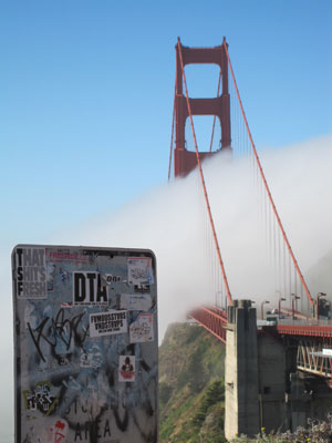 Golden Gate Graffiti with Fog