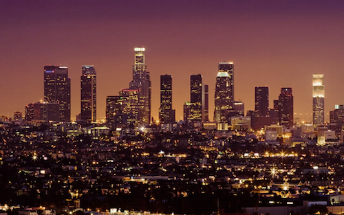 los angeles skyline night