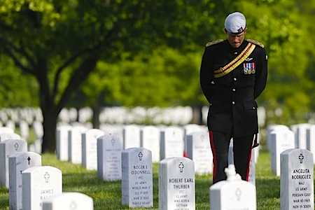 Prince Harry honoring American soldiers at Arlington National Cemetary